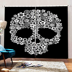 cheap Duvet Cover Sets-Home Decoration 3D Printing Floral Skeleton Background Curtains 100% Polyester Thickening Blackout Fabric Curtain