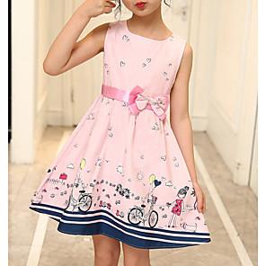 cheap Dog Clothes-Kids Girls' Active Geometric Print Sleeveless Above Knee Dress Blushing Pink