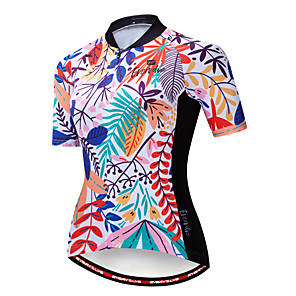 cheap Cycling Jerseys-EVERVOLVE Floral Botanical Women's Short Sleeve Cycling Jersey - Camouflage Bike Jersey Top Breathable Moisture Wicking Quick Dry Sports Cotton Polyster Lycra Mountain Bike MTB Road Bike Cycling