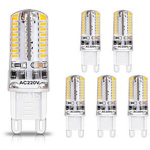cheap LED Bi-pin Lights-6pcs G9 LED Light Bulbs 3W 30W Halogen Equivalent 250LM 64LEDS Non-dimmable G9 Bulbs for Home Lighting AC220V
