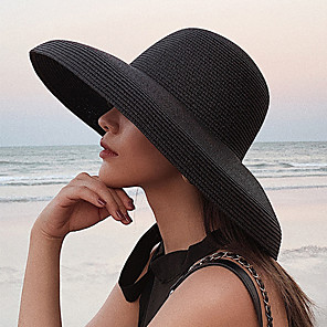 cheap Party Hats-Women's Active Basic Cute Straw Straw Hat Sun Hat-Color Block Summer Fall Black White Beige