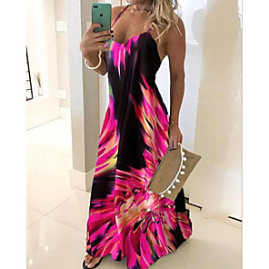 cheap Women's Boots-Women's Plus Size Maxi Dress - Sleeveless Floral Print Summer Casual Holiday Vacation Beach Slim 2020 Blue Red Fuchsia Green Gray S M L XL XXL XXXL XXXXL XXXXXL