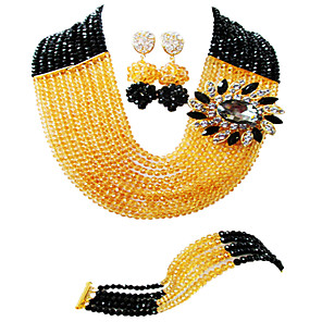 cheap Jewelry Sets-Women's Necklace Earrings Bracelet Beads Lucky Elegant Africa Earrings Jewelry Champagne / Orange / Red For Wedding Party Gift Daily Festival 1 set