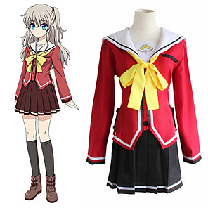 cheap Anime Costumes-Inspired by Charlotte Cookie Anime Anime Cosplay Costumes Japanese Cosplay Suits Cravat Skirts Top For Women's