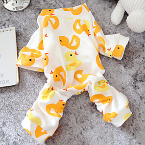 cheap Dog Clothes-Dog Jumpsuit Pajamas Cartoon Casual / Daily Winter Dog Clothes Yellow Pink Costume Cotton XS S M L XL