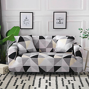 cheap Pillow Covers-Sofa Cover Classical Black Gray GeometryPrinted Polyester Slipcovers