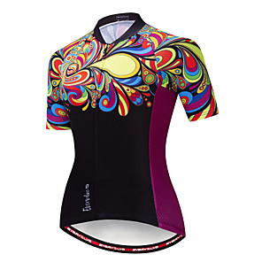 cheap Cycling Jerseys-EVERVOLVE Floral Botanical Women's Short Sleeve Cycling Jersey - Black Bike Jersey Top Breathable Moisture Wicking Quick Dry Sports Cotton Polyster Lycra Mountain Bike MTB Road Bike Cycling Clothing