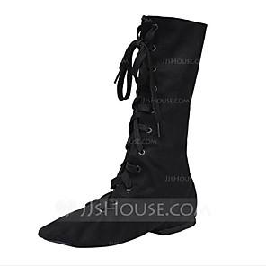 cheap Jazz Shoes-Women's Dance Shoes Jazz Shoes Ballroom Shoes Boots Split Sole Lace-up Flat Heel Black / White / Red / EU43