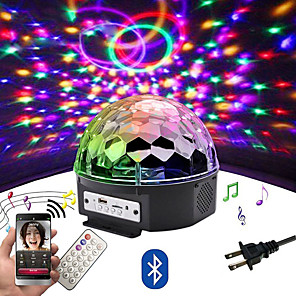 cheap Stage Lights-LOENDE 9 color LED Bluetooth Speaker Disco Ball Light with Mp3 Player Prom Laser Party Light 18W DJ Stage Light Laser Projection Lamp