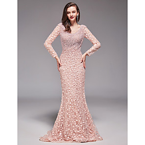 cheap Evening Dresses-Sheath / Column Elegant Sexy Formal Evening Dress V Neck Long Sleeve Sweep / Brush Train Floral Lace with Beading 2020