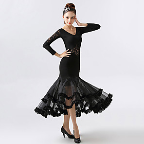 cheap Ballroom Dancewear-Ballroom Dance Dress Lace Ruching Split Joint Women's Training Performance Long Sleeve Chinlon Spandex