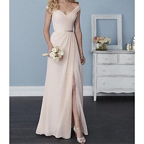 cheap Wedding Wraps-A-Line Off Shoulder Floor Length Chiffon Bridesmaid Dress with Sash / Ribbon / Pleats / Split Front