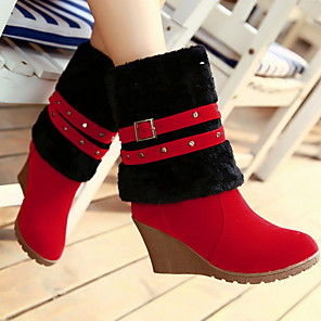 cheap Women's Boots-Women's Boots Snow Boots Wedge Heel Round Toe Suede Mid-Calf Boots Fall & Winter Brown / Yellow / Red