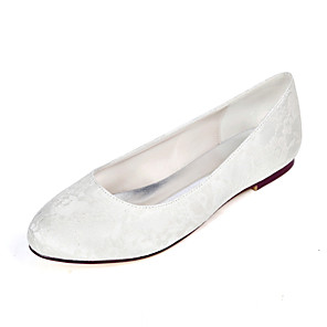 cheap Wedding Shoes-Women's Wedding Shoes Flat Heel Round Toe Lace Minimalism Fall / Spring & Summer White / Ivory / Light Purple / Party & Evening