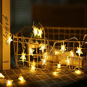 cheap LED String Lights-6M 40  LEDs Star Fairy Garland String Lights Novelty For New Year Christmas Wedding Home Indoor Decoration Battery Powered