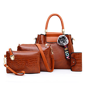 cheap Latin Shoes-Women's Pattern / Print PU Bag Set Crocodile 4 Pieces Purse Set Black / Brown / Red