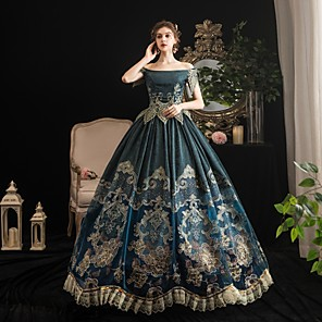 cheap Historical & Vintage Costumes-Maria Antonietta Rococo Baroque Victorian Dress Party Costume Women's Lace Satin Costume Dark Green Vintage Cosplay Party Halloween Party & Evening Floor Length Ball Gown Plus Size