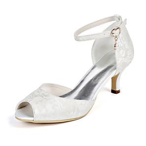 cheap Wedding Shoes-Women's Wedding Shoes Stiletto Heel Peep Toe Imitation Pearl Lace Minimalism Fall / Spring & Summer White / Ivory / Light Purple / Party & Evening