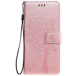 cheap vivoCase-Case For OnePlus 7 Nokia 7.1 Phone Case PU Leather Material Embossed Cat and Tree Pattern Solid Color Phone Case