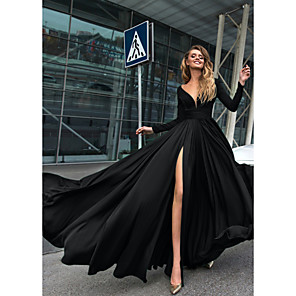 cheap Wedding Wraps-A-Line Empire Minimalist Holiday Formal Evening Dress V Neck Long Sleeve Floor Length Chiffon with Split Front 2020