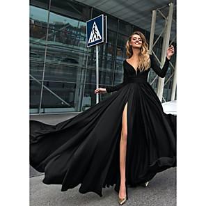 cheap Women's Heels-A-Line Empire Minimalist Holiday Formal Evening Dress V Neck Long Sleeve Floor Length Chiffon with Split Front 2020