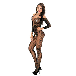 cheap Anime Costumes-Women's Lace / Mesh Bodysuits Nightwear Solid Colored / Floral Black White Red One-Size