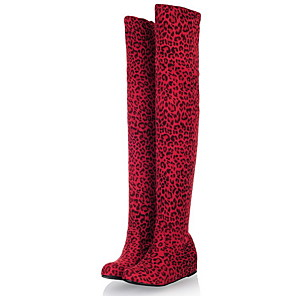 cheap Women's Boots-Women's Boots Over-The-Knee Boots Flat Heel Round Toe Suede Over The Knee Boots Fall & Winter Black / Brown / Leopard