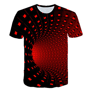 cheap Neon LED Lights-Men's Graphic 3D Print Print T-shirt Basic Street chic Going out Round Neck Black / Purple / Red / Yellow / Green / Royal Blue / Summer / Short Sleeve