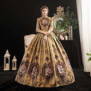 cheap Historical & Vintage Costumes-Maria Antonietta Rococo Baroque Victorian Dress Women's Lace Satin Costume Coffee Vintage Cosplay Party Halloween Party & Evening Floor Length Ball Gown Plus Size