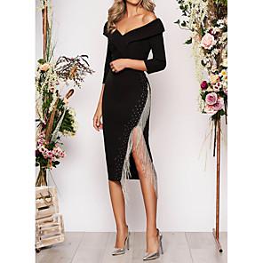 cheap Cocktail Dresses-Sheath / Column Elegant Black Wedding Guest Cocktail Party Dress Off Shoulder 3/4 Length Sleeve Asymmetrical Polyester with Tassel Split 2020