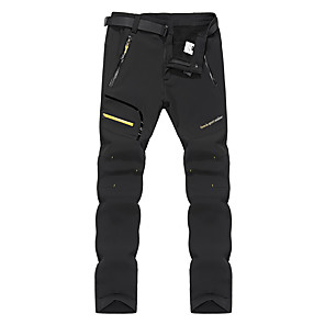 cheap Hiking Trousers & Shorts-Men's Hiking Pants Softshell Pants Outdoor Thermal / Warm Waterproof Windproof Fleece Lining Winter Softshell Pants / Trousers Bottoms Ski / Snowboard Climbing Camping / Hiking / Caving Black Dark