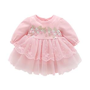 baratos Liquidação-bebê meninas manga comprida algodão vestido de flor por 3-18 meses