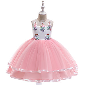 cheap Movie & TV Theme Costumes-Unicorn Dress Flower Girl Dress Kid's Girls' A-Line Slip Dresses Halloween Halloween Carnival Children's Day Festival / Holiday Tulle Polyster Light Purple / Brown / LightBlue Carnival Costumes Lace