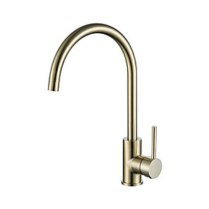 cheap Kitchen Faucets-Single Handle One Hole Brushed Gold Standard Spout / Tall / High Arc Centerset Contemporary Kitchen Taps