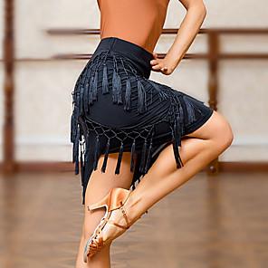 cheap Latin Dancewear-Latin Dance Skirts Tassel Women's Training Crystal Cotton