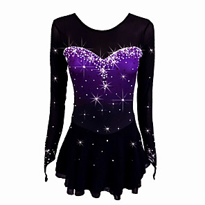 cheap Ice Skating Dresses , Pants & Jackets-Figure Skating Dress Women's Girls' Ice Skating Dress Black Stretchy Competition Skating Wear Handmade Classic Ice Skating Figure Skating