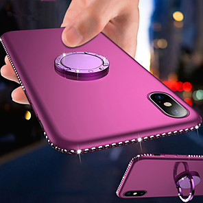 cheap iPhone Cases-Magnetic Ring Holder Bling Diamond Soft TPU Phone Case For iphone 11 Pro Max / iphone 11 Pro / iphone 11 / XS Max XR XS X 8 Plus 8 7 Plus 7 6 Plus 6 Rhinestone Frame Silicone Shockproof Stand Cover