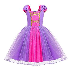 cheap Movie & TV Theme Costumes-Rapunzel Dress Masquerade Flower Girl Dress Girls' Movie Cosplay A-Line Slip Cosplay Halloween Light Purple Dress Halloween Carnival Masquerade Tulle Cotton