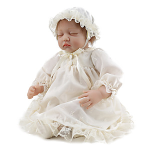 cheap Reborn Doll-NPK DOLL 22 inch Reborn Doll Reborn Toddler Doll Baby Boy Baby Girl Gift Cute Lovely Cloth 3/4 Silicone Limbs and Cotton Filled Body with Clothes and Accessories for Girls' Birthday and Festival Gifts