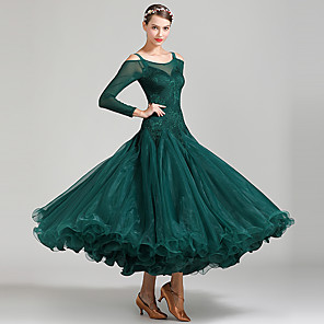 cheap Ballroom Dancewear-Ballroom Dance Dress Lace Split Joint Women's Performance Long Sleeve High Lace Organza Tulle