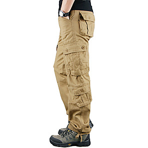 cheap Hiking Trousers & Shorts-Men's Hiking Pants Hiking Cargo Pants Outdoor Warm Soft Comfortable Wear Resistance Cotton Pants / Trousers Bottoms Black Yellow Army Green Blue Khaki Camping / Hiking Hunting Fishing 28 29 30 32 34