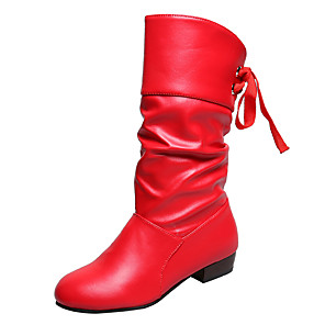 cheap Women's Boots-Women's Boots Block Heel Round Toe Casual Daily Bowknot PU Mid-Calf Boots Walking Shoes White / Black / Red