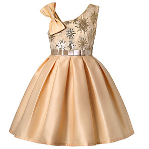 cheap Movie & TV Theme Costumes-A-Line Knee Length Party / Pageant Flower Girl Dresses - Polyester / Poly&Cotton Blend Sleeveless One Shoulder with Butterfly Design / Sash / Ribbon / Pleats