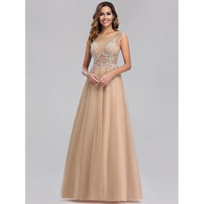 cheap Latin Dancewear-A-Line Elegant Formal Evening Dress Jewel Neck Sleeveless Floor Length Lace Tulle with Beading 2020