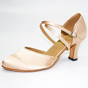 cheap Wedding Veils-Women's Modern Shoes / Ballroom Shoes Satin Cross Strap Heel Cuban Heel Customizable Dance Shoes Almond / Performance / Practice