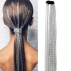 cheap Hair Jewelry-Women's For Party Tassel Fringe Aluminum Silver White 1