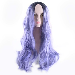 cheap Synthetic Trendy Wigs-Synthetic Wig Body Wave Bob Free Part Wig Ombre Long Black / Purple Synthetic Hair 26inch Women's Odor Free Cosplay Adjustable Ombre / Heat Resistant / Natural Hairline / Heat Resistant