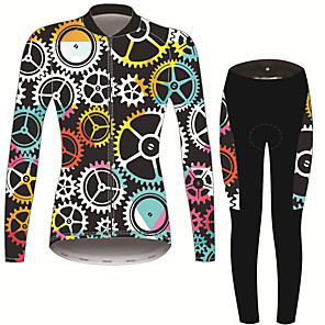 cheap Cycling Jersey & Shorts / Pants Sets-21Grams Floral Botanical Women's Long Sleeve Cycling Jersey with Tights - Black / White Bike Clothing Suit Thermal / Warm Breathable Quick Dry Sports Winter Fleece Terylene Polyester Taffeta Mountain
