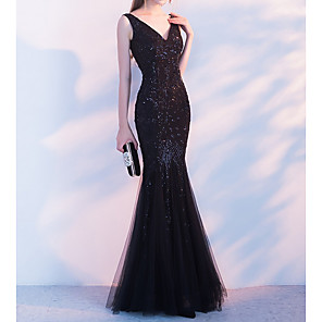 cheap Prom Dresses-Mermaid / Trumpet Sparkle Black Party Wear Formal Evening Dress V Neck Sleeveless Floor Length Polyester with Beading Sequin 2020