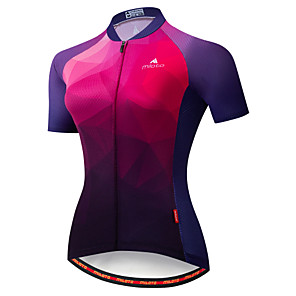 cheap Cycling Jerseys-Miloto Women's Short Sleeve Cycling Jersey Winter Black / Blue Gradient Bike Jersey Mountain Bike MTB Moisture Wicking Reflective Strips Back Pocket Sports Clothing Apparel / Stretchy
